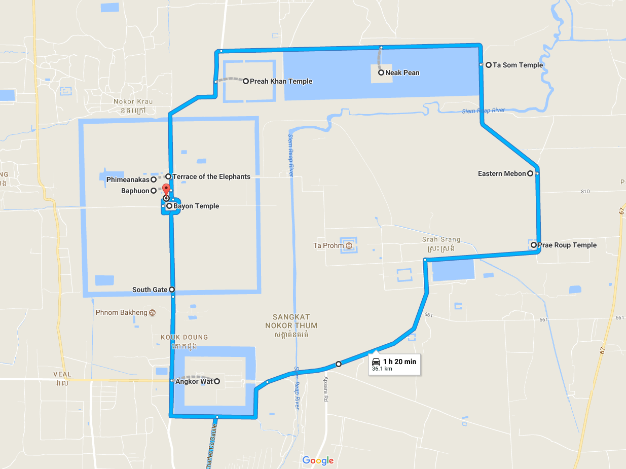 Angkor Wat Big Tour Map