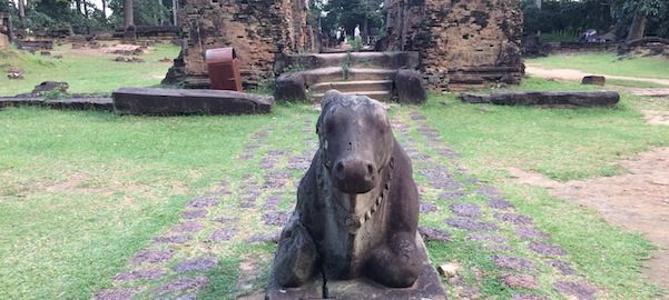 Calf In Causeway Entrance At Preah Ko