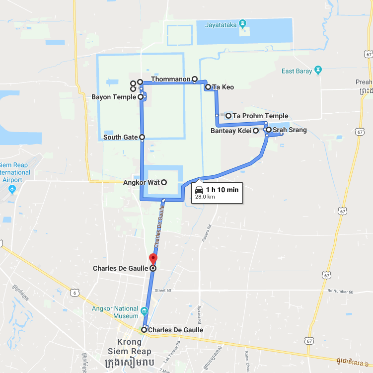 Popular Angkor Wat Small Tour Route Map